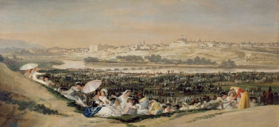 Goya escenificó así el disfrute de los madrileños en la pradera de San Isidro. En la próxima imagen verás cómo la disfrutamos ahora.