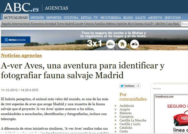 ABC: A ver Aves, una aventura para identificar y fotografiar fauna salvaje en Madrid