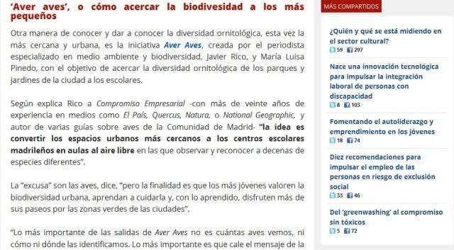 """Revista Compromiso Empresarial: """"Aver Aves"""". o cómo acercar la biodiversidad a los más pequeños"""