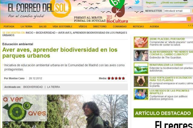 El Correo del Sol: Aver Aves, aprender biodiversidad en los parque urbanos