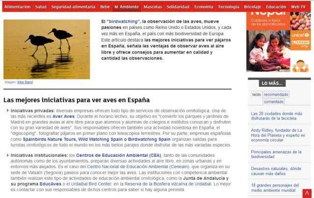 Eroski Consumer: Las mejores iniciativas para ver aves en España