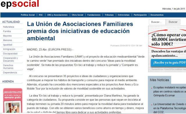 Europa Press Social: La Unión de Asociaciones Familiares premia dos iniciativas ambientales (Mención especial para Aver Aves)