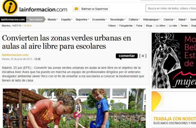 la informacion.com: Convierten las zonas verdes urbanas en aulas al aire libre para escolares