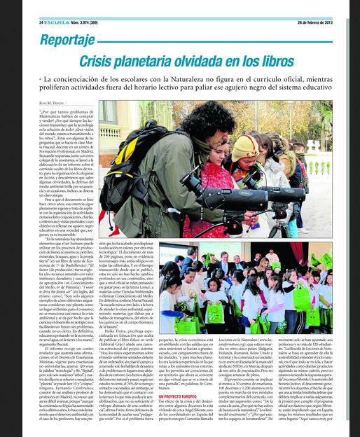 Periódico Escuela: Crisis planetaria olvidada en los libros