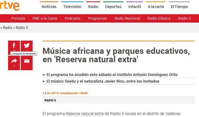 Programa Reserva natural extra de Radio 5 en el Instituto Antonio Domínguez Ortiz de Vallecas